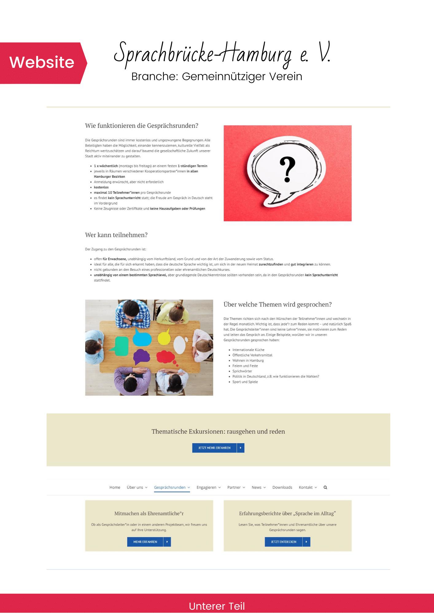 Beispiel von der Website Sprachbrücke-Hamburg e. V.