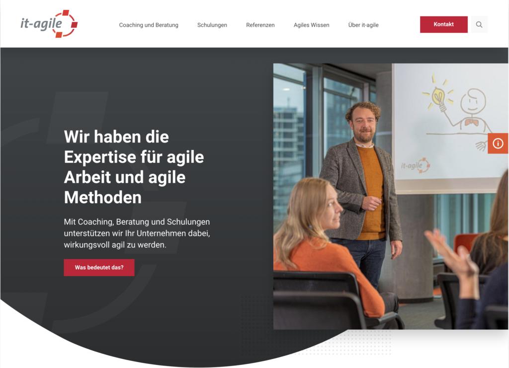 Ausschnitt der Startseite von it-agile