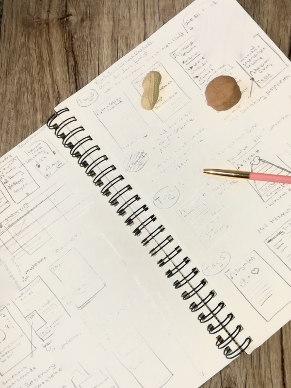 Scribble-Block für die Konzeption eines Workshops